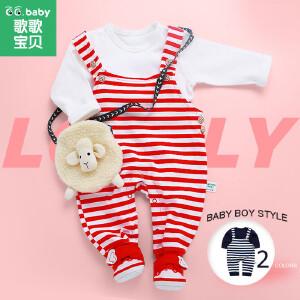 歌歌宝贝宝宝背带裤套装   儿童春装外出服  纯棉两件套婴儿衣服