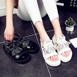 公猴夏季2017新款真皮凉鞋女学生松糕底凉鞋流苏韩版中跟厚底凉鞋