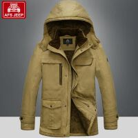 AFS JEEP棉衣男中长款加绒加厚冬装外套男装大码棉服男棉袄56015