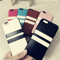 iPhone6手机壳硅胶套苹果5S情侣潮流软皮壳 简约复古黑白条纹纯色