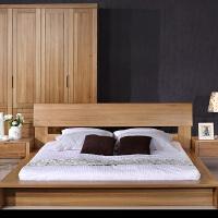 北欧篱笆 纯榆木双人床全实木床1.8米婚床卧室家具中式简约现代