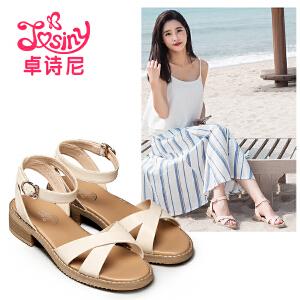 卓诗尼2017夏季新款森女中跟凉鞋时尚休闲一字式扣带粗跟舒适女鞋