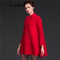 Freefeel2017新款春装羊绒大衣欧美风中长款时尚女装毛呢外套1688