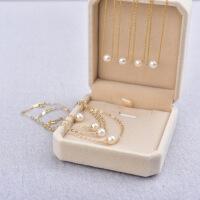 美国14K注金项链天然正圆珍珠项链防过敏锁骨链保色