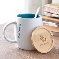 珀纳斯PARTNERS创意个性星巴克风格可爱陶瓷水杯情侣马克杯牛奶杯办公室简约咖啡杯
