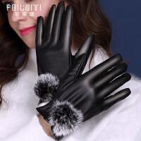 女士冬季皮手套触屏防寒防风保暖加绒加厚骑行摩托车学生可爱韩版