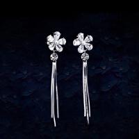 欧丁2017新款 S925纯银日韩版时尚气质 五瓣花朵流苏长款耳环耳饰