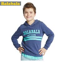巴拉巴拉balabala男中童时尚帅气连帽长袖T恤装童装