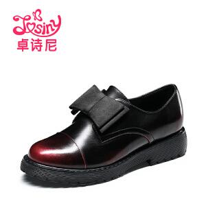 卓诗尼2017春季新款漆皮小皮鞋甜美蝴蝶结单鞋粗跟女鞋111715521