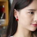 欧丁挂红色珍珠耳钉女纯银耳针双面简约耳饰一款两戴H