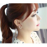 欧丁气质可爱星星月耳钉女耳环韩版时尚饰品纯银针耳钉H031