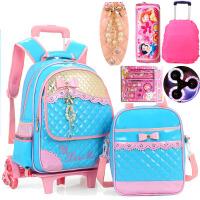 书包拉杆背包 PU皮闪光三轮爬楼梯拖拉杆箱书包女孩小学生3-6年级 2件套 安全反光条设计