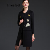 Freefeel2017新款春装羊绒大衣欧美风中长款时尚女装毛呢外套1697