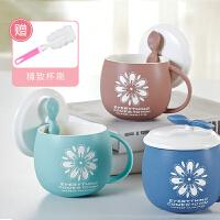 个性奶茶马克杯子陶瓷带盖苹果水杯创意可爱茶杯色釉磨砂亚光水杯
