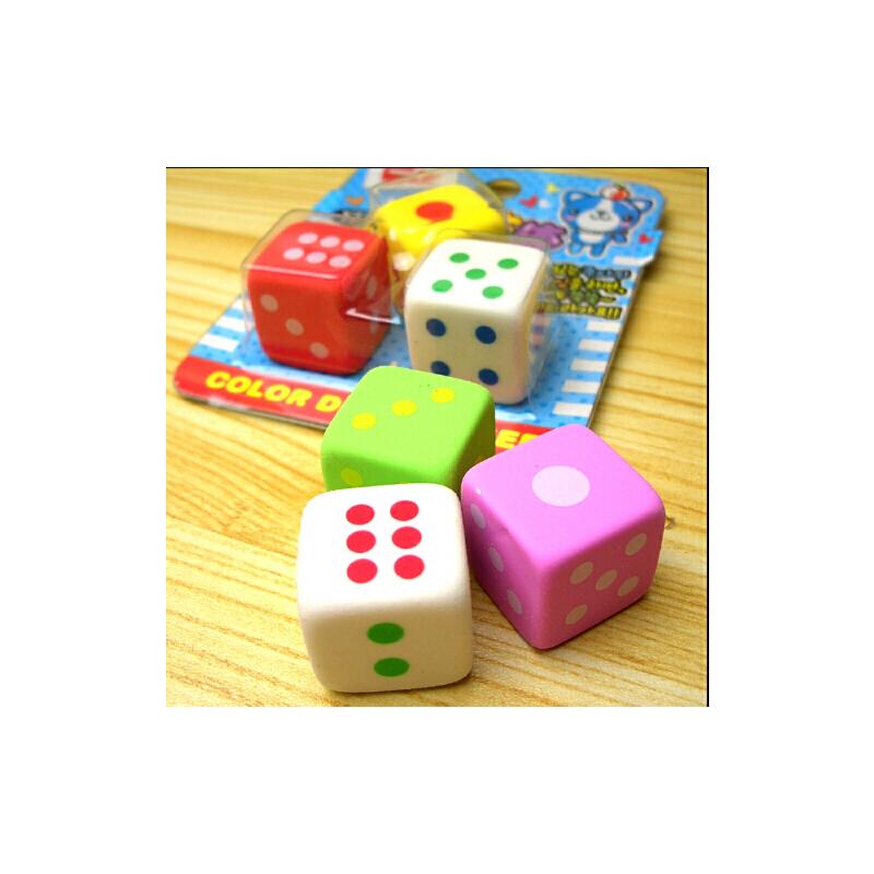 【与同办公办公文具】正方体彩色骰子造型橡皮擦可爱