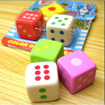 正方体彩色骰子造型橡皮擦可爱礼品文具小学生学习用品3块装