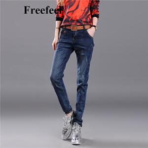 Freeefeel2017春夏新款牛仔裤女蓝色修身显瘦小脚裤弹力百搭大码打底裤女裤