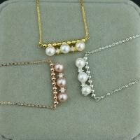 925纯银正圆强光天然珍珠锆石日韩项链锁骨链