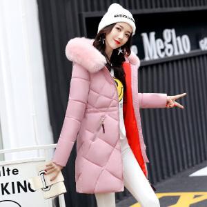 Freefeel2017秋冬新款羽绒棉服中长款女装韩版时尚修身大毛领外套