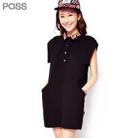 PASS原创潮牌夏装新款 POLO领中腰无袖纽扣品牌连衣裙6622431099