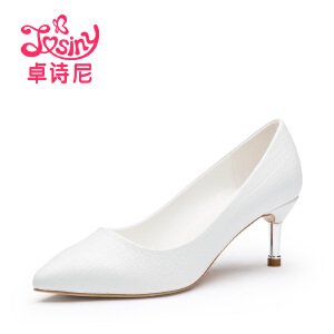 卓诗尼2016秋季新款女鞋通勤细跟浅口高跟尖头单鞋女