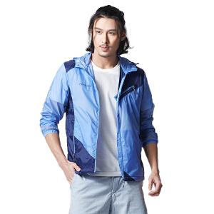 亚特男户外运动风衣春秋季薄款透气长袖外套修身连帽夹克潮皮肤衣