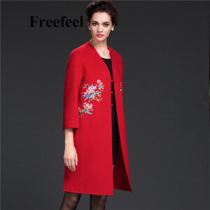 Freefeel2017新款春装羊绒大衣欧美风中长款时尚女装毛呢外套1803