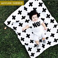 [WUYUAN]五园家纺 精梳全棉双面儿童针织毯 纯棉空调毯 棉线毯子 加号和兔子
