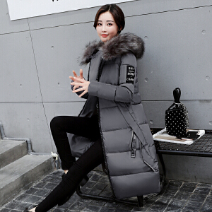 Freefeel2017秋冬新款羽绒棉服中长款女装韩版时尚修身上衣大毛领