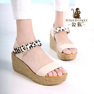 公猴夏季新品坡跟女凉鞋韩版松糕厚底凉鞋女真皮时尚女鞋休闲凉鞋