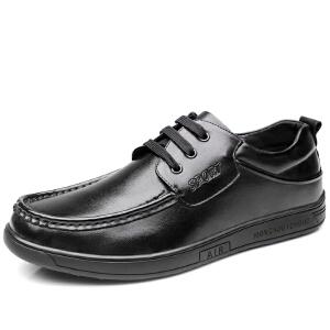 格罗堡春季新款男鞋时尚休闲鞋男英伦系带商务正装休闲皮鞋潮鞋子