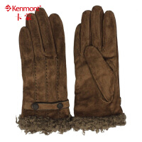 女士猪绒皮手套kenmont保暖手套韩版潮流分指手套4902