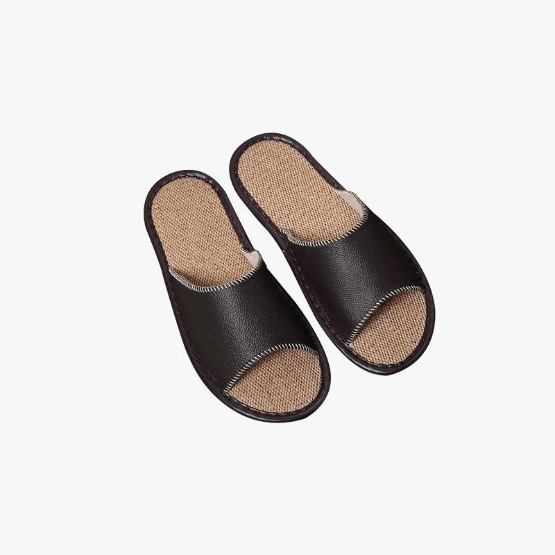 当当优品 真皮牛皮拖鞋 亚麻底 环保透气 防滑保护地板拖鞋 居家休闲皮拖 T1651(多色可选)