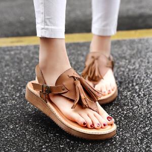 公猴夹趾凉鞋女夏平底真皮罗马女凉鞋流苏学生鞋子休闲平跟凉拖鞋