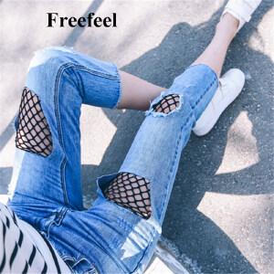 Freefeel 2017春夏新款女裤中腰七分裤纯棉破洞网纱牛仔裤女百搭大码直筒裤