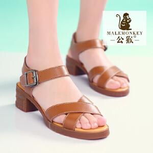 公猴夏季新款英伦女鞋女凉鞋真皮粗跟凉鞋女学生凉鞋罗马凉鞋