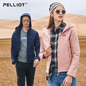 【折上再减】法国PELLIOT户外软壳衣 男女抓绒情侣软壳冲锋衣 透气外套