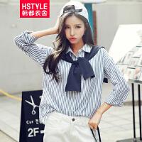 韩都衣舍2017韩版女装春装新款条纹翻领小披肩显瘦衬衫CQ6418⑥