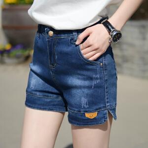 【包邮秒杀 仅此一天】Freefeel2017夏季新款女式中高腰牛仔裤短裤夏季薄款修身大码显瘦弹力韩版