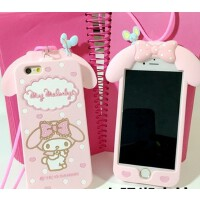 美乐蒂iphone6/plus手机壳 可爱带挂绳苹果4s/5s硅胶保护套