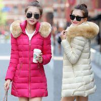 2016新款冬装棉衣外套女中长款大码加厚毛领羽绒棉服韩版修身棉袄