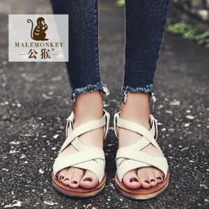 公猴平底凉鞋女夏2017新款罗马凉鞋女休闲凉拖鞋学生平跟女凉鞋子