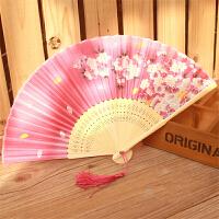 白领公社 扇子 家居苏州苏扇真丝古风扇子折扇女式中国风古典折扇舞蹈扇日式樱花小扇