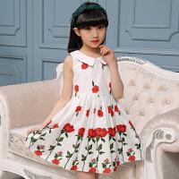 女童连衣裙夏装2017新款中大童儿童短袖玫瑰花公主裙小女孩夏季裙子韩版