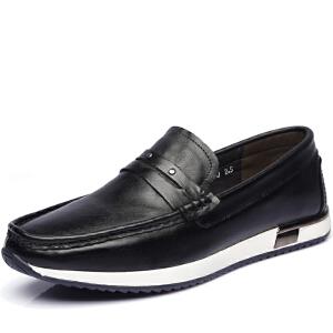 格罗堡春季新款男鞋时尚户外休闲鞋男英伦套脚休闲皮鞋子
