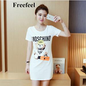 Freefeel2017新款夏装T恤韩版大码印花上衣修身中长款圆领宽松百搭短袖