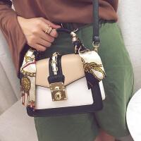 包包女2017新款时尚单肩包小方包韩版锁扣休闲百搭斜挎手提女包潮