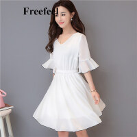 Freefeel2017夏季新款雪纺连衣裙时尚韩版女装短袖裙子