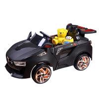 【当当自营】儿童电动汽车童车四轮双驱 宝宝玩具汽车遥控车可坐双电双驱电动车 8821黑色
