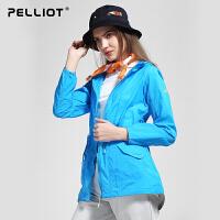 法国PELLIOT/伯希和 户外皮肤衣 女轻薄透气防晒衣服夏长款运动皮肤风衣